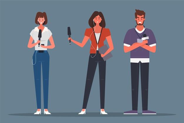Journalisten liefern aktuelle nachrichten Kostenlosen Vektoren