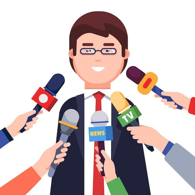 Journalisten nehmen interview von einem politiker Kostenlosen Vektoren
