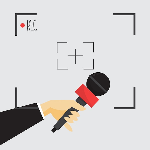 Journalistisches konzept. hand hält mikrofon. reporter nehmen interview Premium Vektoren