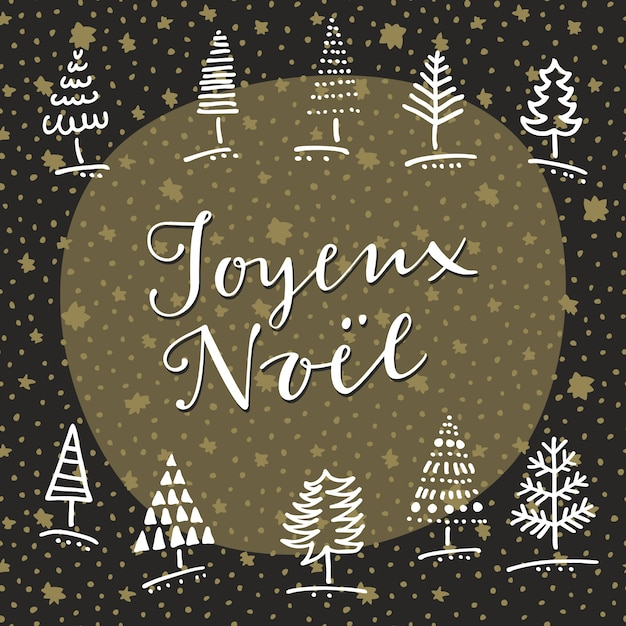 Joyeux noel. gezeichnete grußkarte des gekritzels hand mit winterbäumen und handbeschriftung Kostenlosen Vektoren
