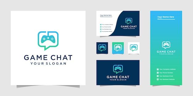 Joystick chat symbol gaming-logo und visitenkarte Premium Vektoren
