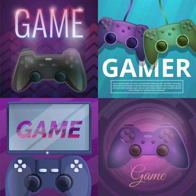 Joystickspielillustration eingestellt auf karikaturart Premium Vektoren