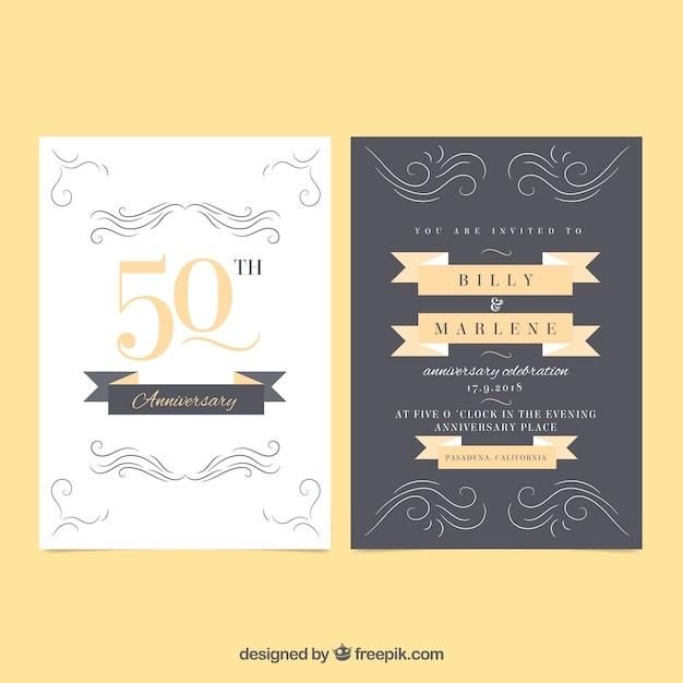 Jubiläumskarte mit ornamenten Kostenlosen Vektoren