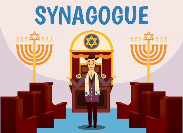 Jüdische synagoge cartoon illustration Kostenlosen Vektoren