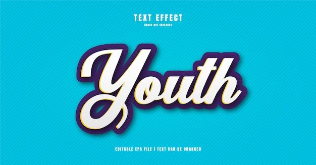 Jugend 3d-texteffekt Premium Vektoren