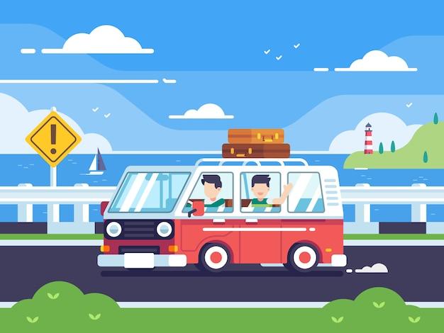 Jugend, die durch einen weinlesewagenbus auf küstenhintergrund reist. bunte illustration des vektors in der flachen art Premium Vektoren