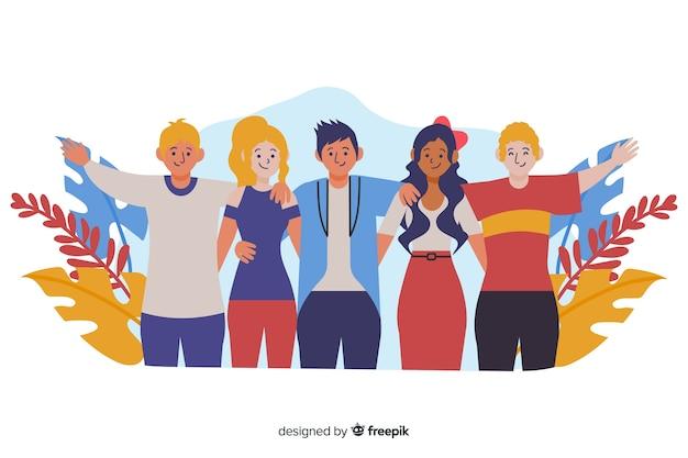 Jugendleute, die zusammen hintergrund umarmen Kostenlosen Vektoren