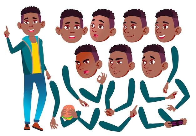 Jugendlich jungencharakter. afrikanisch. erstellungskonstruktor für animation. gesichtsemotionen, hände. Premium Vektoren