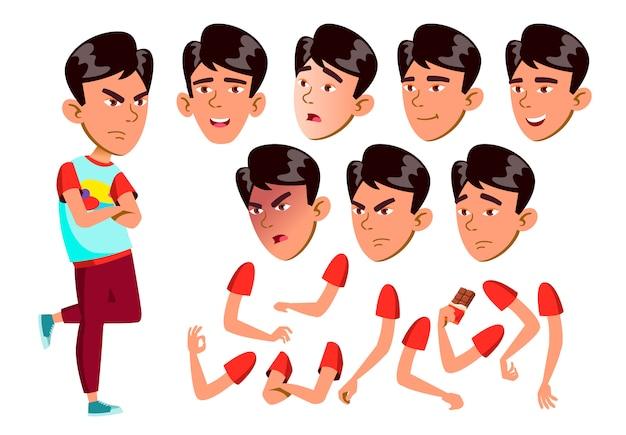 Jugendlich jungencharakter. asiatisch. erstellungskonstruktor für animation. gesichtsemotionen, hände. Premium Vektoren