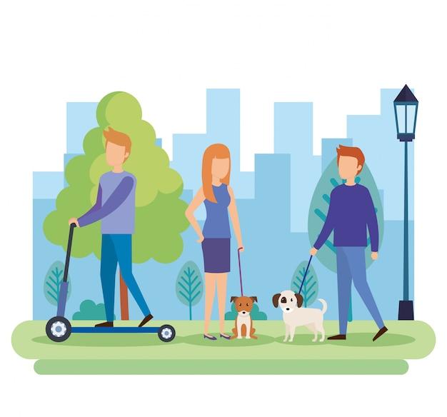 Jugendliche mit hunden im park Kostenlosen Vektoren