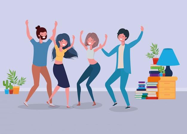 Jugendliche tanzen im wohnzimmer Kostenlosen Vektoren