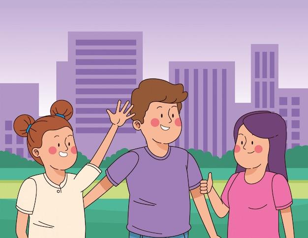Jugendlichfreunde, die spaß lächeln und haben Premium Vektoren