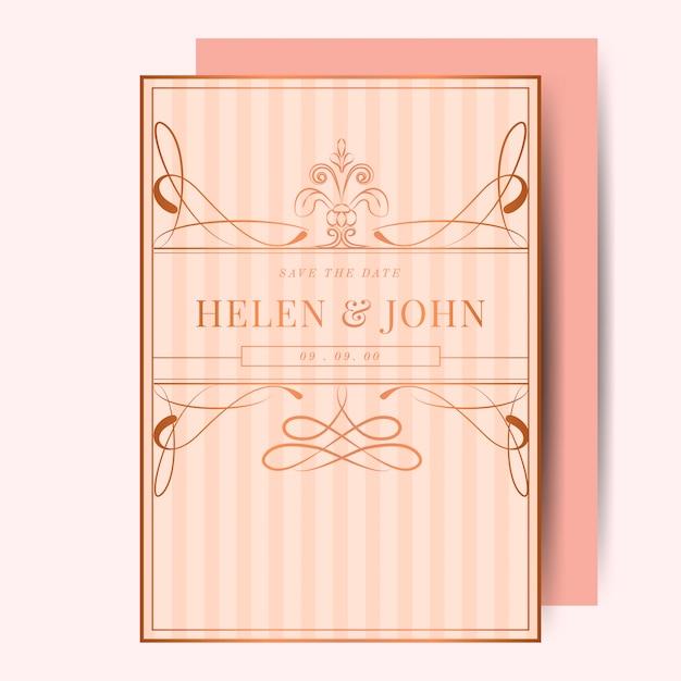 Jugendstil-hochzeitseinladungs-modellvektor des rosafarbenen goldes der weinlese Kostenlosen Vektoren