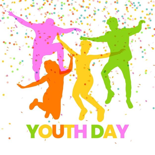 Jugendtag mit springenden menschen silhouetten Kostenlosen Vektoren
