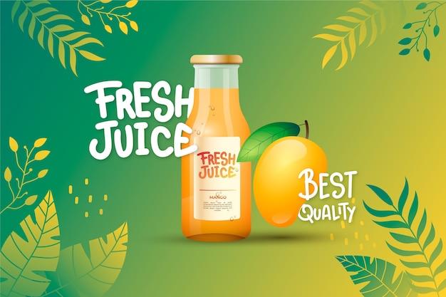 Juice ad mit farbverläufen und schriftzügen Kostenlosen Vektoren