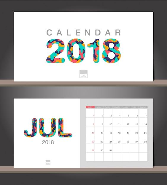 Juli 2018 Kalender. Tischkalender moderne Design-Vorlage mit Papier ...