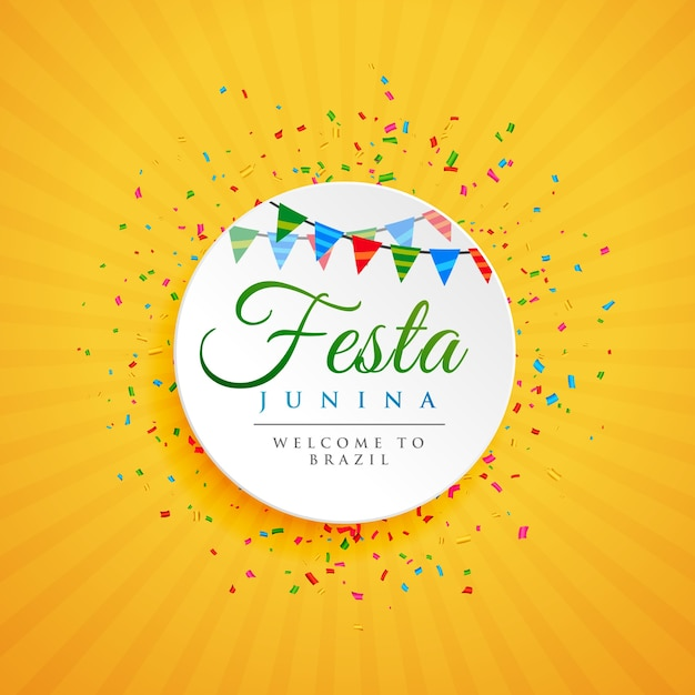 June festival von brazil festa junina hintergrund mit konfetti Premium Vektoren