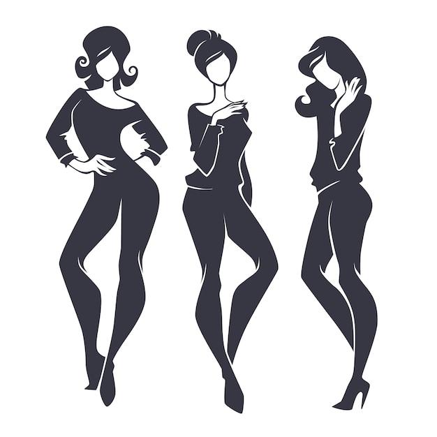 Jung, schönheit, mode und modische mädchen, silhouetten festgelegt Premium Vektoren