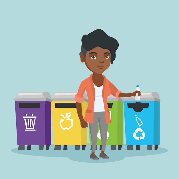 Junge afrikanische frau, die heraus plastikflasche wirft. Premium Vektoren