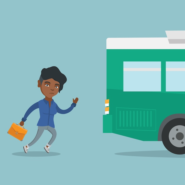 Junge afrikanische nachwuchsfrau, die für den bus läuft. Premium Vektoren