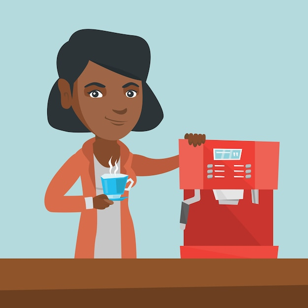 Junge afroamerikanerfrau, die kaffee macht. Premium Vektoren
