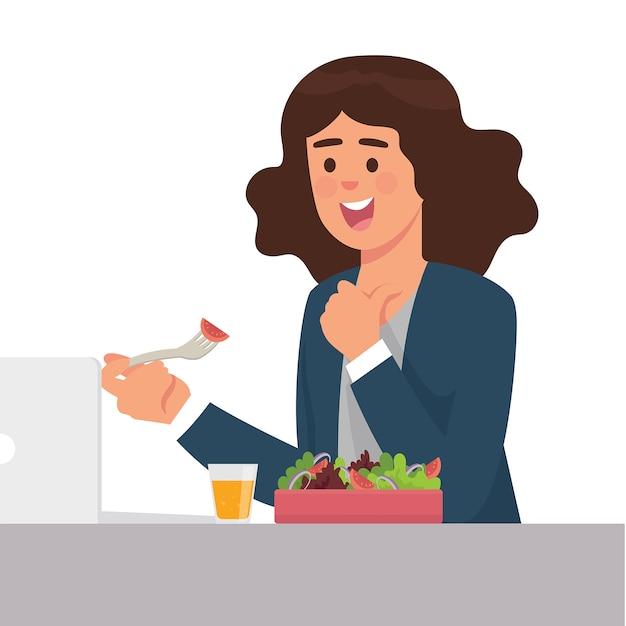 Junge arbeiter essen gerne mit einer schachtel salaten zu mittag Premium Vektoren