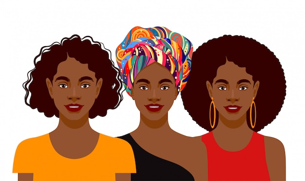 Junge attraktive afroamerikanische frauen Premium Vektoren