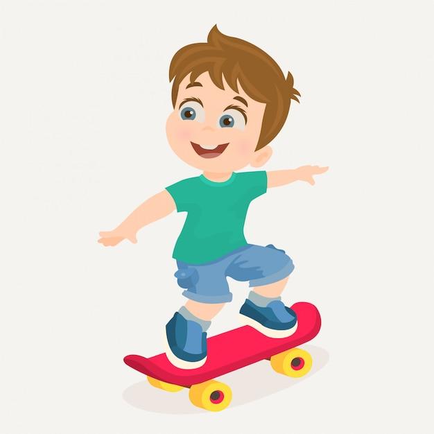 Junge auf skateboard Premium Vektoren