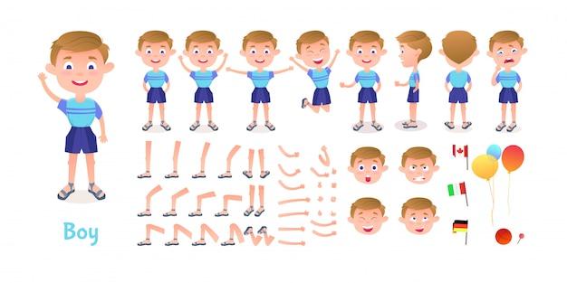 Junge charakter konstruktor. cartoon boy kreation maskottchen kit. posen und emotionen für die charaktererstellung für animationen und illustrationen Premium Vektoren