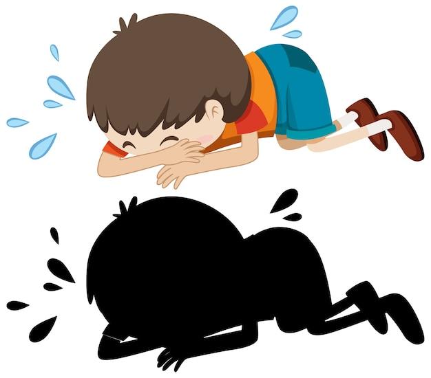 Junge, der auf dem boden mit seiner silhouette weint Kostenlosen Vektoren