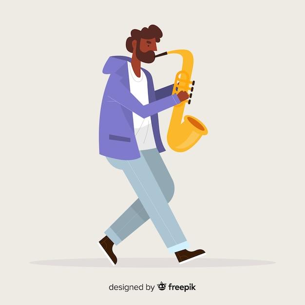 Junge, der den saxo-hintergrund spielt Kostenlosen Vektoren