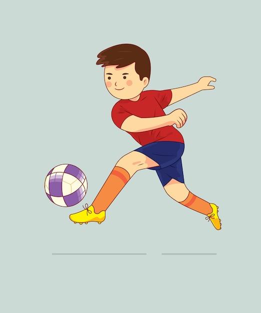 Junge, der fußballcharakter spielt Premium Vektoren