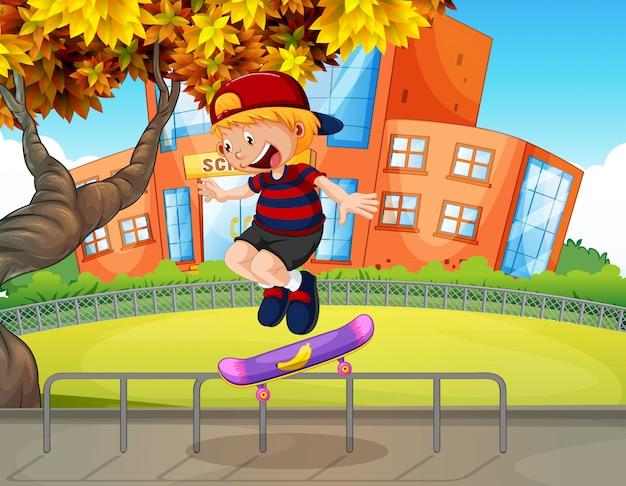 Junge, der in der schule skateboard spielt Premium Vektoren