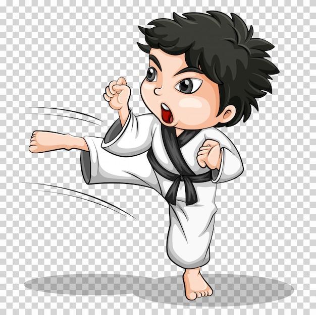 Junge, der karate auf transparentem tut Kostenlosen Vektoren