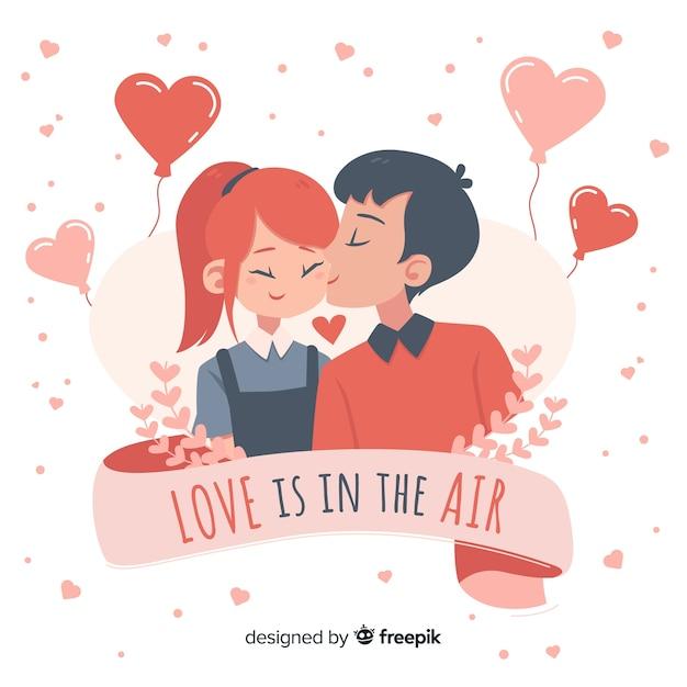 Junge, der mädchen valentinstaghintergrund küsst Kostenlosen Vektoren