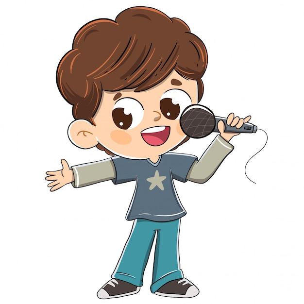 Junge, der mit einem mikrofon singt oder ein präsentieren tut Premium Vektoren