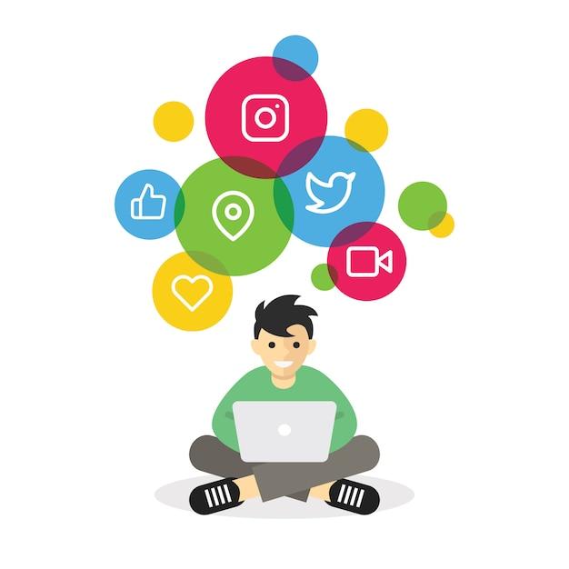 Junge, der mit laptopgraseninternet-social media sitzt Premium Vektoren