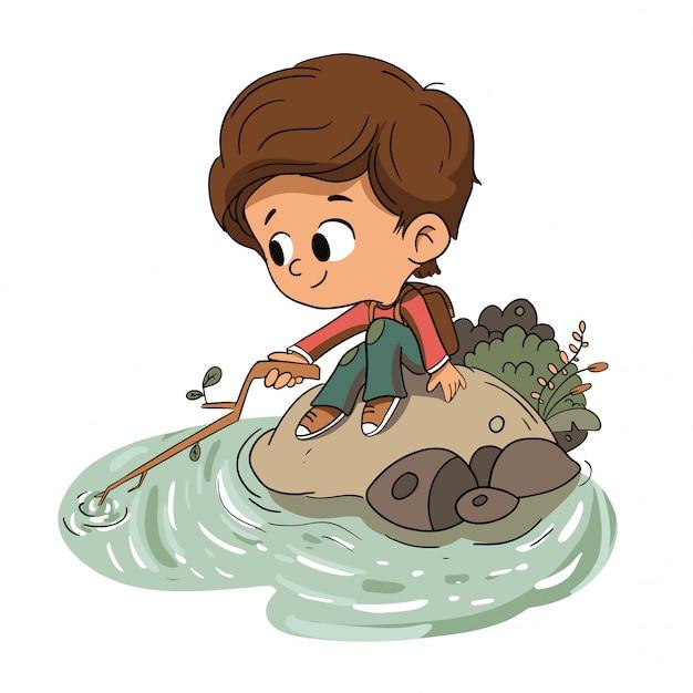 Junge, der mit wasser in einem fluss spielt Premium Vektoren