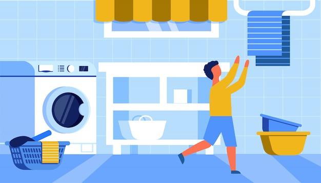Junge, der tuch vom aufhänger in der badezimmer-ebene nimmt Premium Vektoren