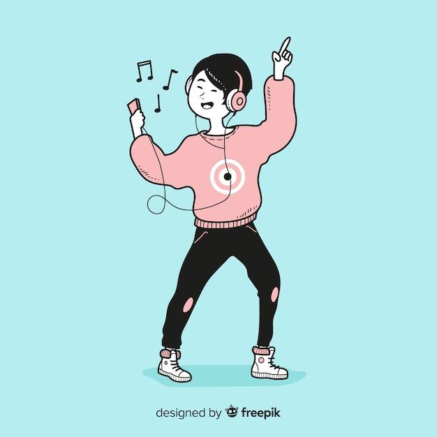 Junge, die musik in der koreanischen zeichnungsart hören Kostenlosen Vektoren