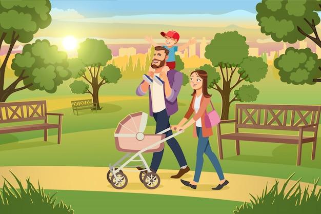 Junge familie, die mit kindern im park-vektor geht Premium Vektoren
