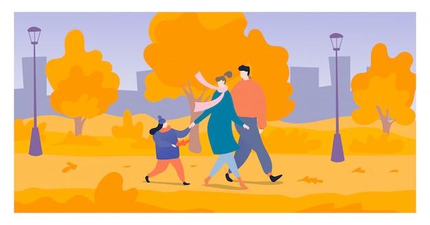 Junge familie gehen nationalen freiluftpark, fröhliche mutter vater und tochter spazieren herbstgarten illustration. Premium Vektoren