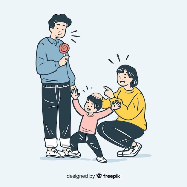 Junge familie in der koreanischen zeichnungsart Kostenlosen Vektoren