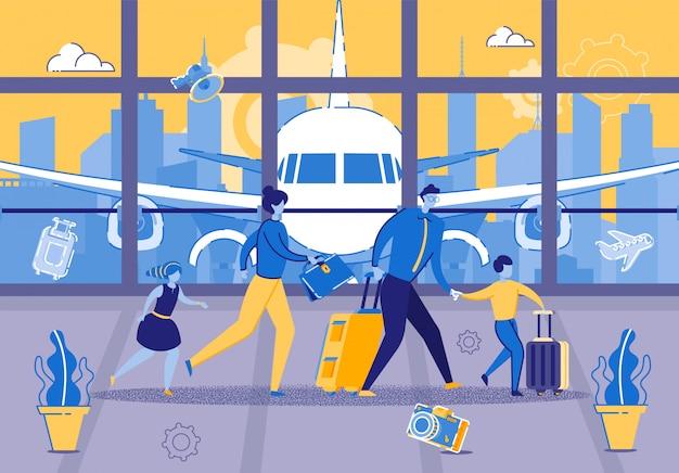 Junge familie ist in eile für den flug am flughafen Premium Vektoren