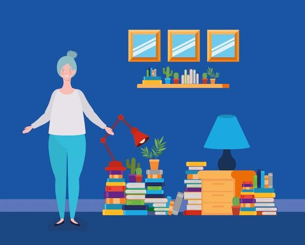 Junge fette frau, die im bibliotheksraum steht Kostenlosen Vektoren