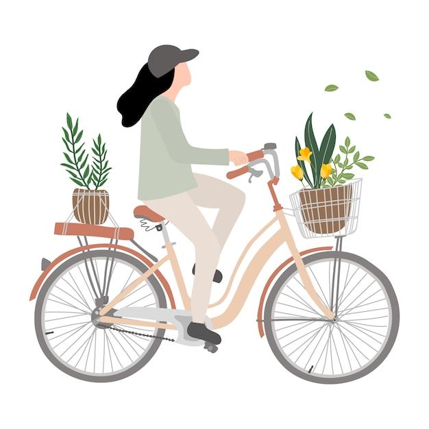 Junge frau auf dem fahrrad. reitfahrrad der frau mit blume. Premium Vektoren