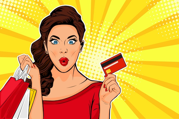 Junge frau der pop-art, die einkaufstaschen und kreditkarte hält Premium Vektoren