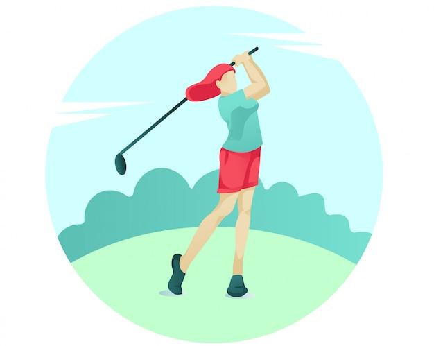 Junge frau, die golf mit verein auf grünem gericht spielt Premium Vektoren
