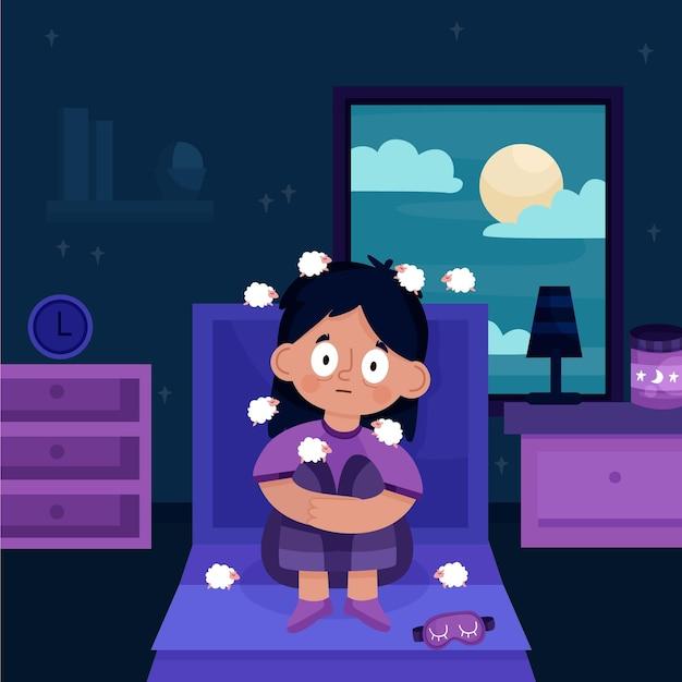 Junge frau, die probleme mit dem schlafen hat Kostenlosen Vektoren