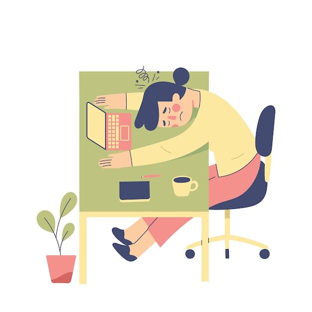 Junge frau fühlt sich müde auf ihren schreibtisch fallen, mädchen fühlt sich vom studium erschöpft Premium Vektoren